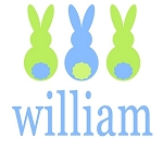 Personalized Boy's Blue 3 Bunnies Easter Shirt