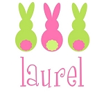 Personalized Girl's Pink 3 Bunnies Easter Shirt