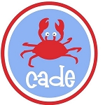 Child's Personalized Summer Crab Tee Shirt Blue