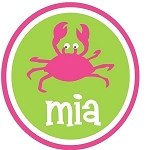 Child's Personalized Summer Crab Tee Shirt Pink