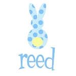 Personalized Child's Blue Polka Dotted Easter Bunny Shirt