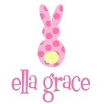 Personalized Girl's Pink Polka Dot Easter Bunny Shirt