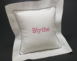 Monogrammed Hemstitch 8x8 Baby Pillow