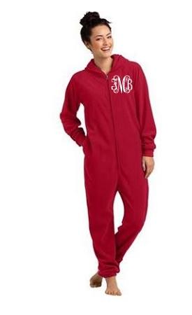 Monogrammed Adult Onesie Hooded Pajamas Lounger