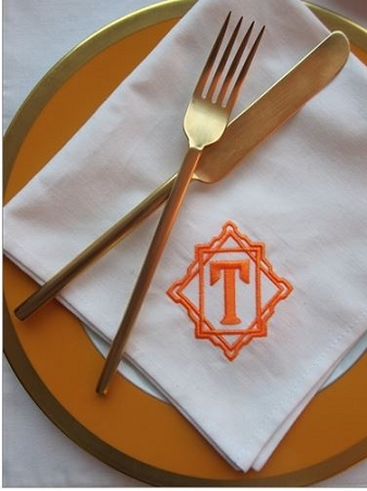 Monogrammed White Cotton Luxury Dinner Napkins