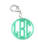 Monogrammed Circle Cutout Acrylic Key Ring