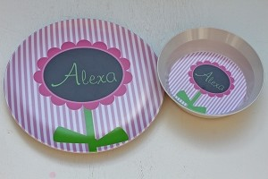 "Personalized Child's ""Preppy Flower"" Plate and Bowl Set"