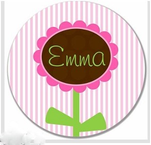 "Personalized Child's ""Preppy Flower"" Plate"