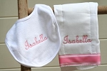 Monogrammed Burp Cloth and Drool Bib Set
