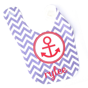 Personalized Preppy Anchor Baby Bib