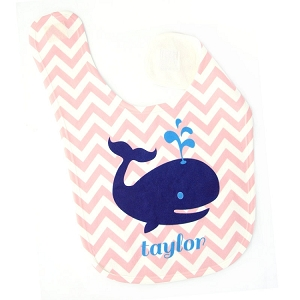 Personalized Pink Chevron Whale Bib