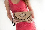 Monogrammed Burlap Clutch-Black Trim