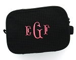 Monogrammed Black Waffle Weave Cosmetic Case