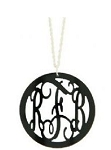 Black Acrylic Round Rimmed Pendant on Sterling Silver Chain