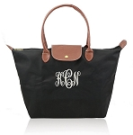 Monogrammed Black Nylon Travel Tote