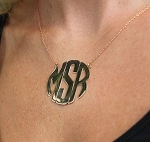Monogrammed Block Pendant Necklace on Split Chain
