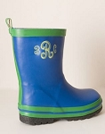 Children's Monogrammed Rain Boots-Royal Blue with Green Trim