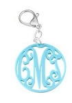 Monogrammed Interlocking Cutout Acrylic Key Ring