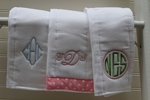 Set of 3 Monogrammed Burp Cloths