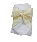 Monogrammed Swaddle Blanket-White with Butter Yellow Bow