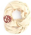 Monogrammed Solid Champagne Infinity Scarf
