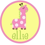 Child's Personalized Pink Girffe T-Shirt