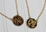 Monogrammed Tortoise Shell Pendant Necklace
