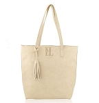 Monogrammed Cream Shoulder Tote