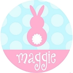 Personalized Girl's Pink Easter Bunny Polka Dots and Stripes Shirt