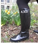 Greek Letter Embroidered Rain Boots