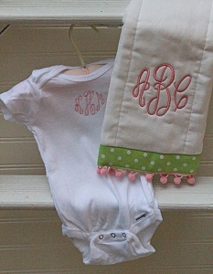Monogrammed Onesie & Burp Cloth Set