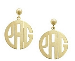 Hand Cut Classic Monogrammed Circle Earrings On Ball And Post