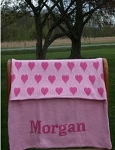Personalized Knit Heart Blanket