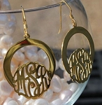 Monogram Front Facing Hoop Earrings