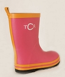 Children's Monogrammed Rain Boots-Hot Pink with Orange Trim