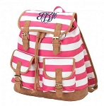 Personalized Hot Pink Stripe Campus-Style Backpack