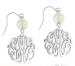 Monogrammed Interlocking Script Earrings On French Wire with Pearl