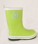 Children's Monogrammed Lime Green Rain Boots