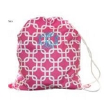 Monogrammed Pink Links Laundry Bag