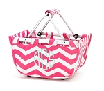 Personalized Hot Pink Chevron Market Tote