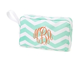 Monogrammed Mint Chevron Cosmetic Bag