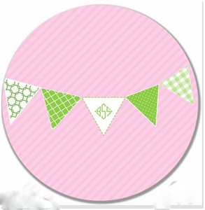 "Personalized Child's ""Preppy Pennant"" Plate"