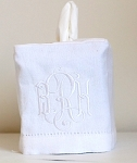 White Linen Monogrammed Tissue Box Cover