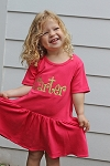 Monogrammed Girl's Hot Pink T-Shirt Dress