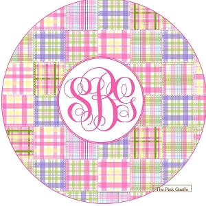 "Personalized Child's ""Preppy Madras Plaid"" Plate"