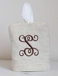Natural Linen Monogrammed Tissue Box Cover