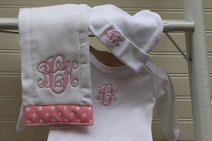 Monogrammed Newborn Gown, Cap and Burp Cloth Set