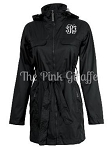 Monogrammed Ladies Black Trench Coat