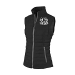 Monogrammed Quilted Black Puffy Vest