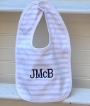 Monogrammed Blue Stripes Bib